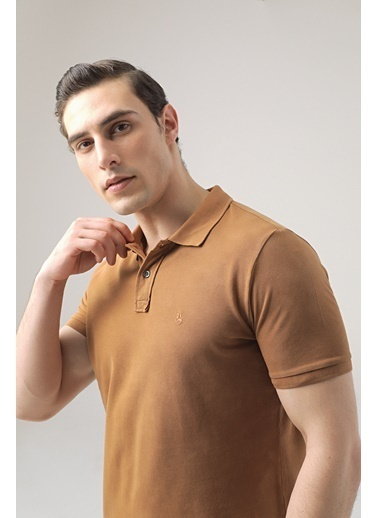 D'S Damat Regular Fit Safran Pike Dokulu T-Shirt Taba